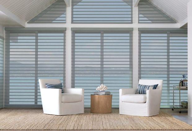 Custom cut diagonal line window coverings.