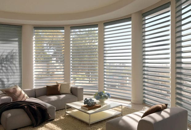 West Linn home with custom cut window treatments.