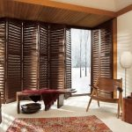 Custom wood blinds for your cabin or any large window spaces.