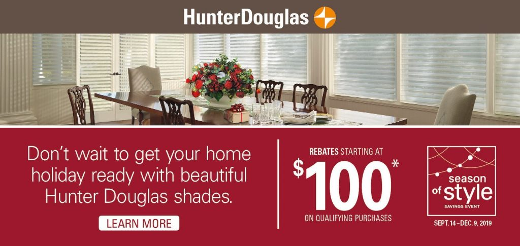 Hunter Douglas window treatment coupon.
