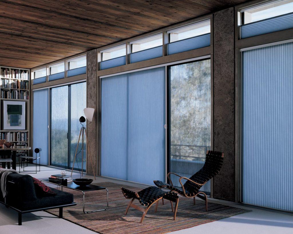 Duette vertiglide blinds for hands-free light control. Looks great!