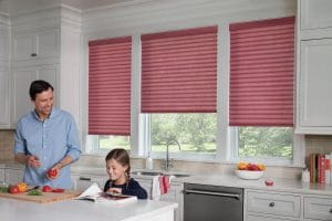 Family enjoying cooking together with Sonnette blinds.