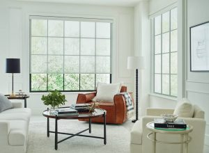 Hands free roller shades with fabric to control light and color.
