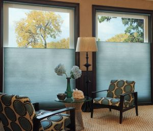 Duette Honeycomb top down blinds in blue for complete privacy.