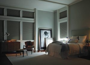 Complete light control with Hunter Douglas Duette honeycomb blinds.
