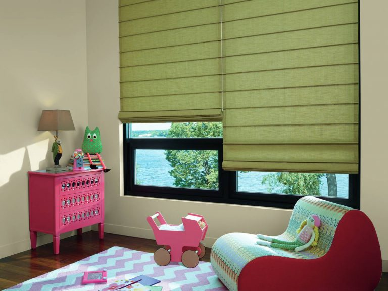 Custom olive Roman Shades in a playroom with an incredible view.