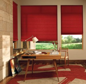 Bright red roman shades to match any style in any room.