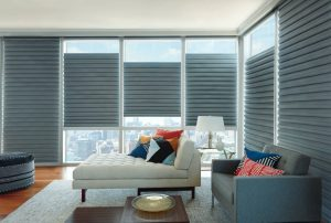 Solera blinds by Hunter Douglas. Bottom up blinds in gray.