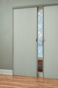 Hunter Douglas Vertiglide motorized blinds.