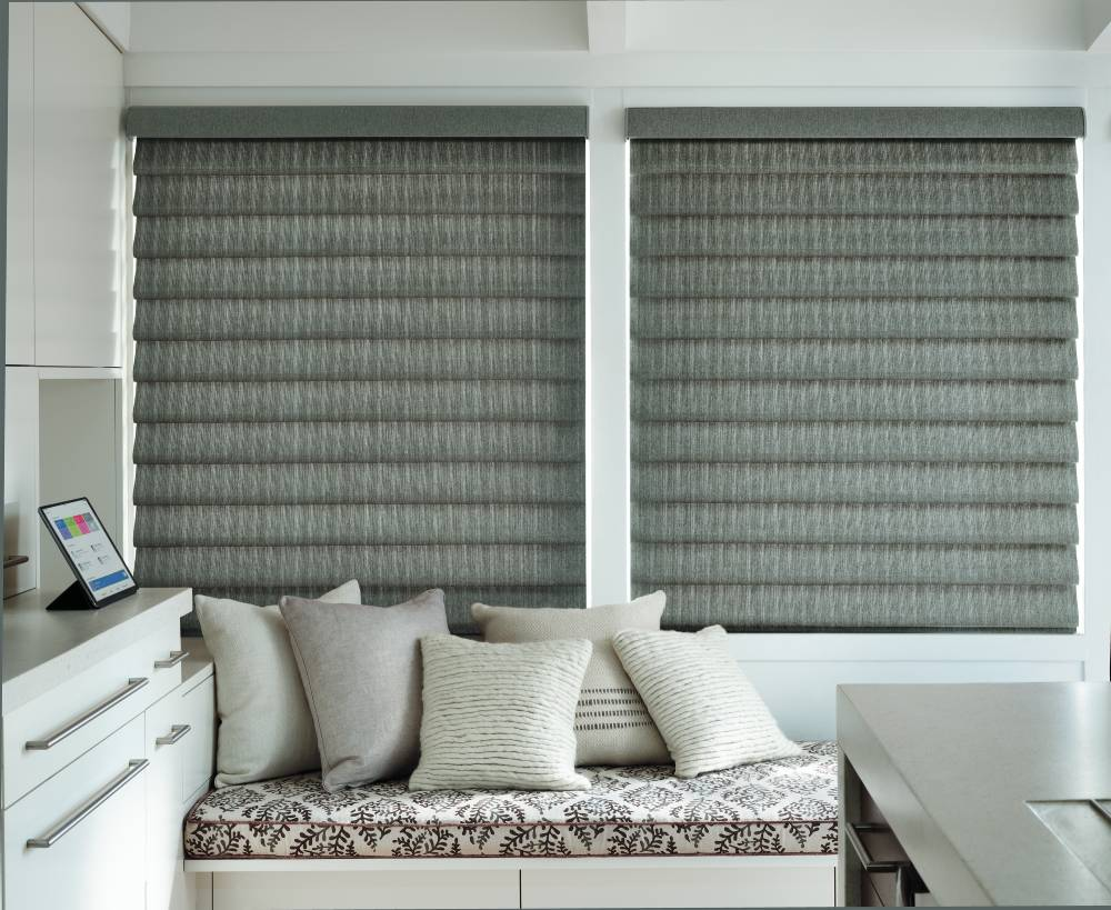 Vignette roman shades in gray in a local office building.