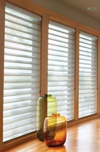 Custom cut motorized silhouette blinds make any room look fanstastic.